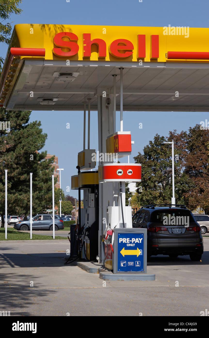 Shell Petrol Station, Gas Station - Stock Image