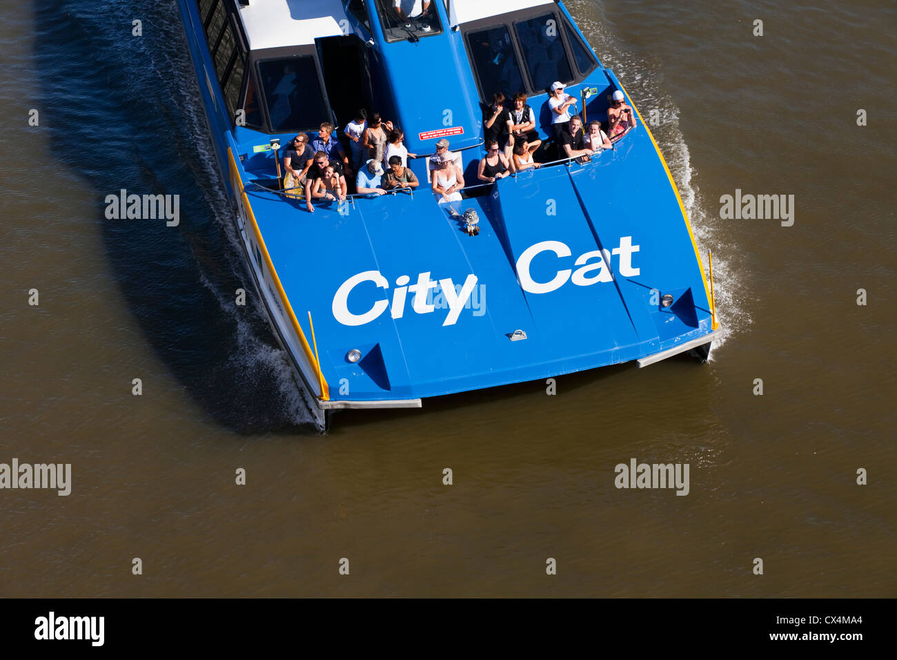 CityCat catamaran ferry on the Brisbane River. Brisbane, Queensland, Australia - Stock Image