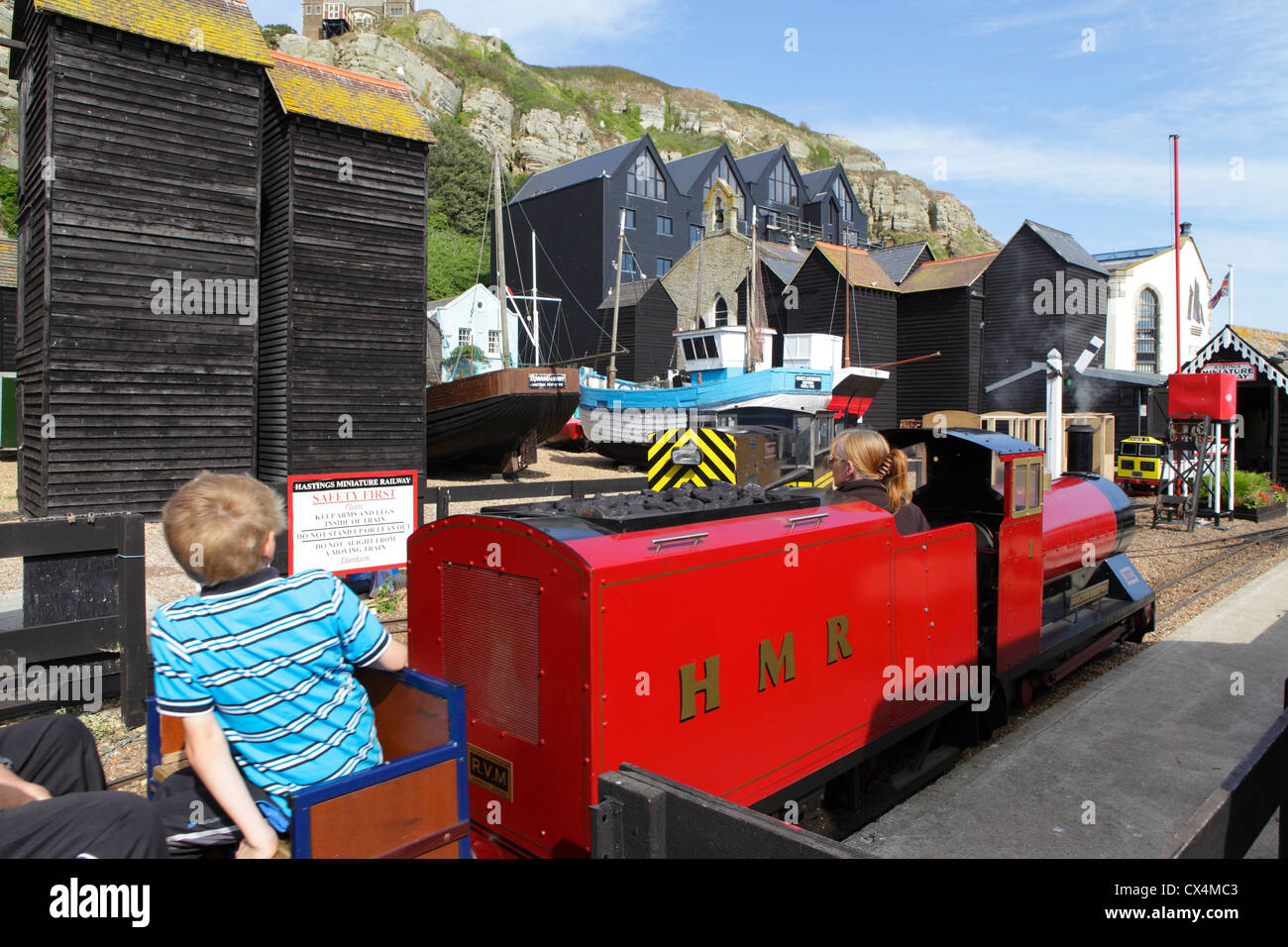Miniature railway train engine at Rock-a-Nore, Hastings seafront, East Sussex, England, UK, GB - Stock Image
