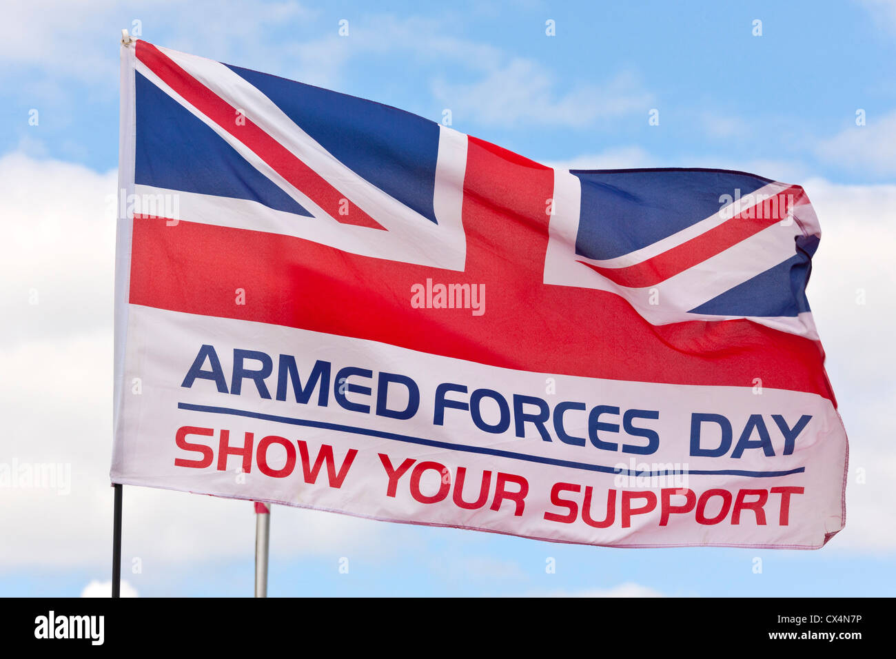 'Armed Forces Day - Show Your Support' flag at Best of British Show, Cotswold (Kemble EGBP) Airport. JMH6072 - Stock Image