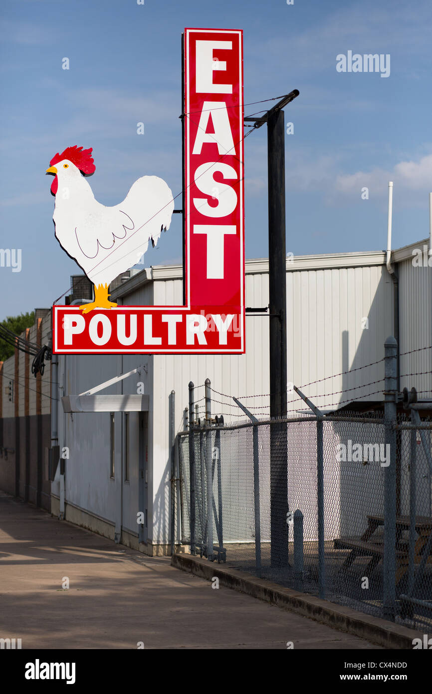 Metallic East Austin Poultry sign with a chicken - Stock Image