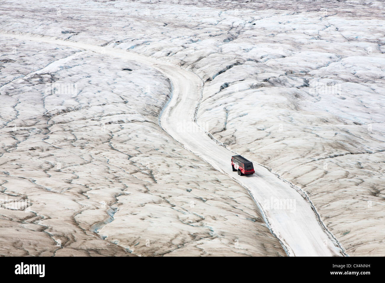 Tourist buggys on the Athabasca Glacier which has lost 60% of its mass, Canada. - Stock Image