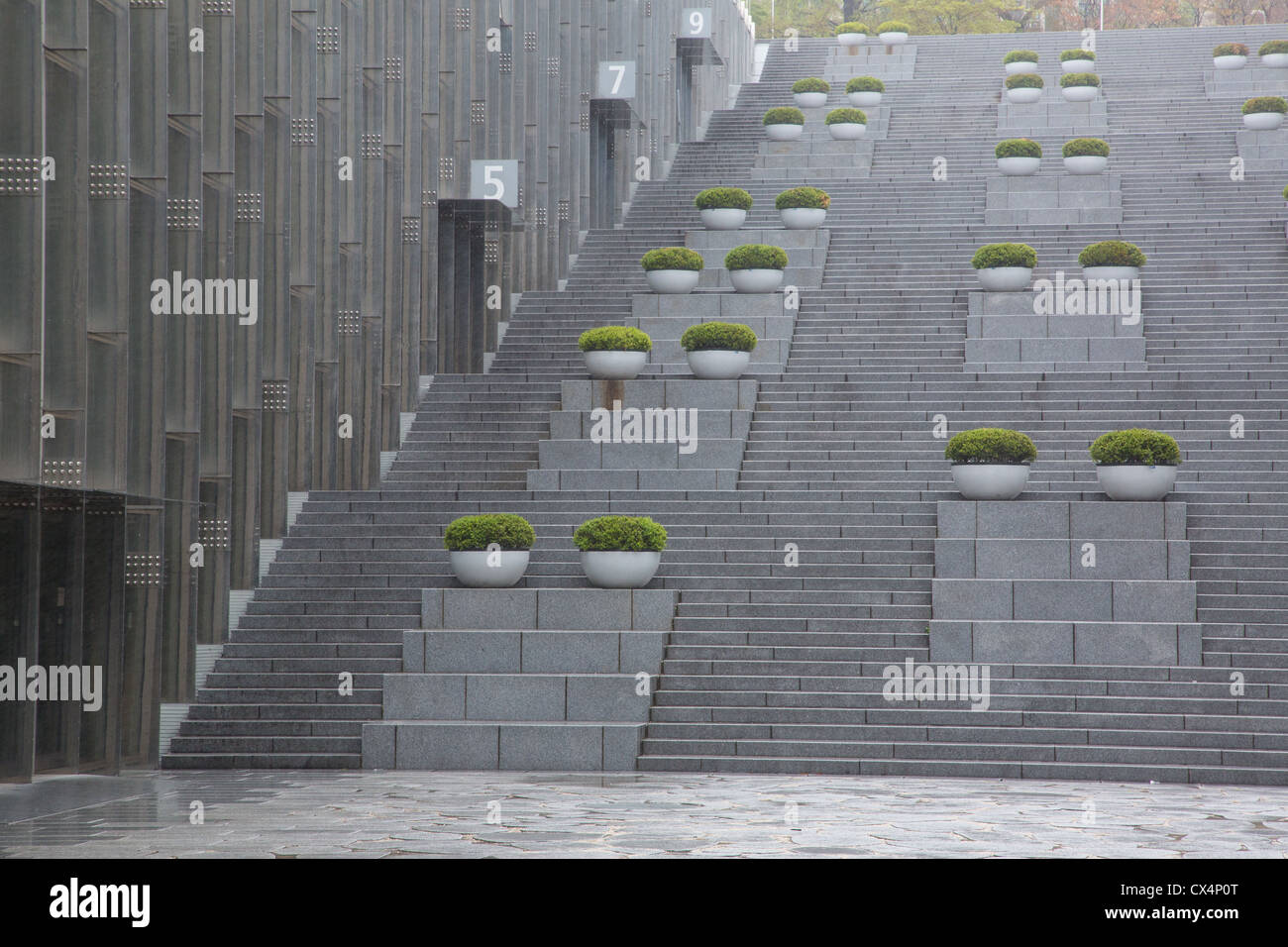 Concrete and stone staircase at the Ewha women's university in Seoul, South Korea - Stock Image