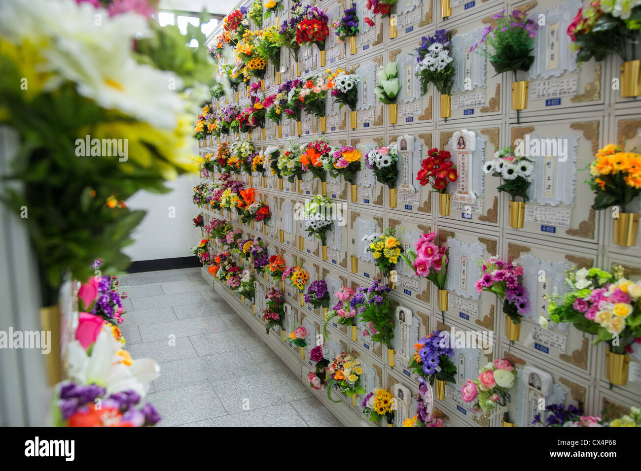 Lockers containing the ashes of deceased people in a temple in South Korea - Stock Image