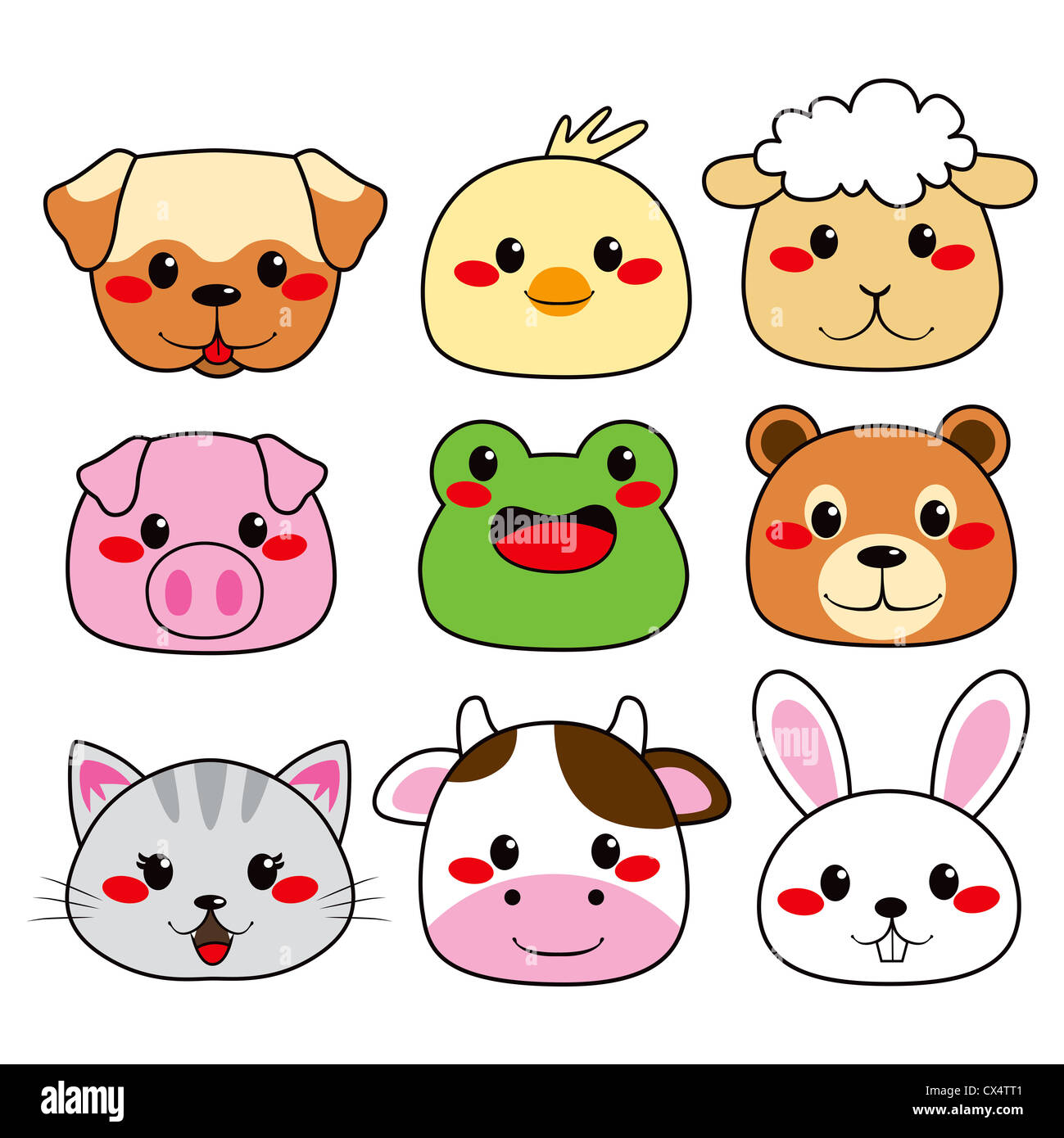 Collection of nine funny and cute happy animal faces smiling Stock Photo