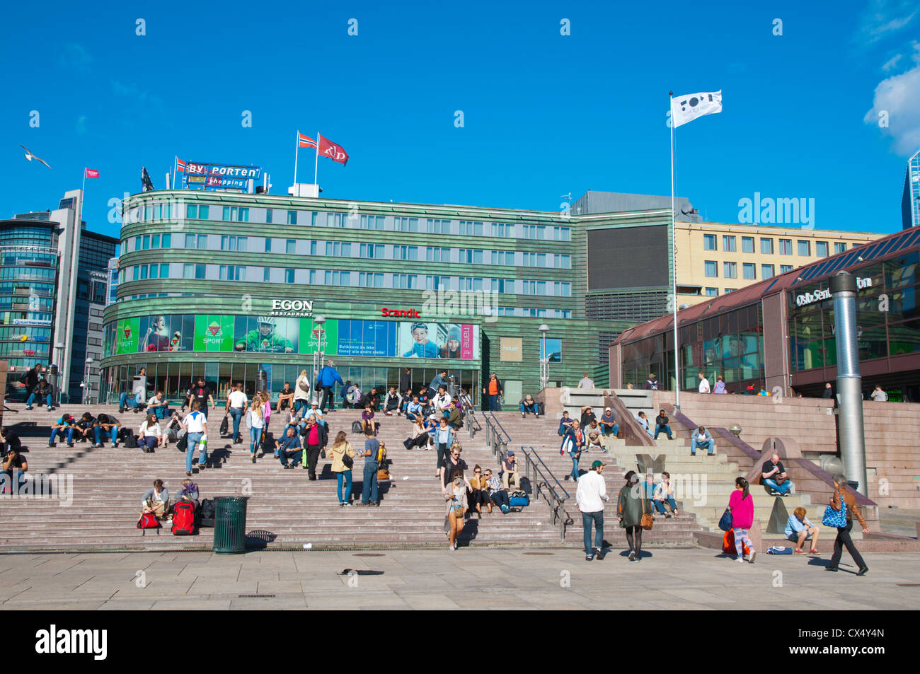 Jernbanetorget square in front of main railway station Sentrum central Oslo Norway Europe - Stock Image