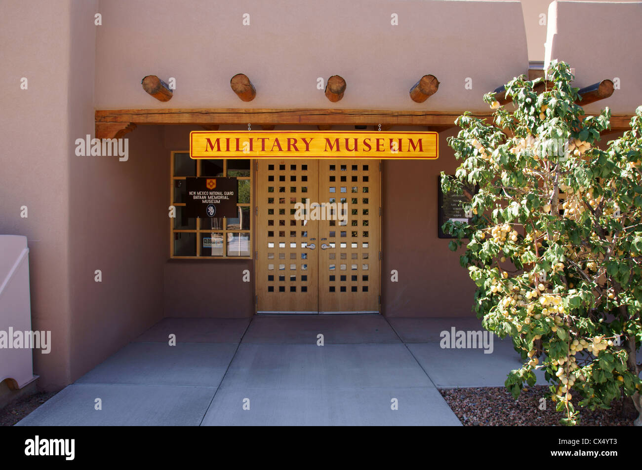 bataan memorial military museum and library santa fe new mexico nm statue monument cairn column inscription - Stock Image