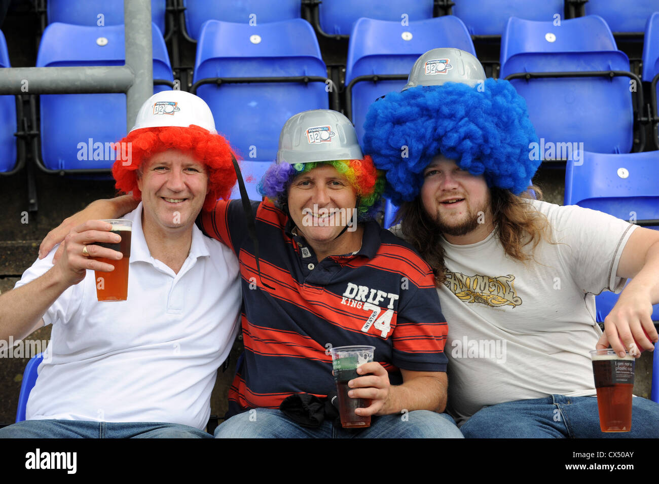 Cricket fans in fancy dress ready for the start of the  Twenty20 Finals Day 2012 at the Swalec Stadium in Cardiff - Stock Image