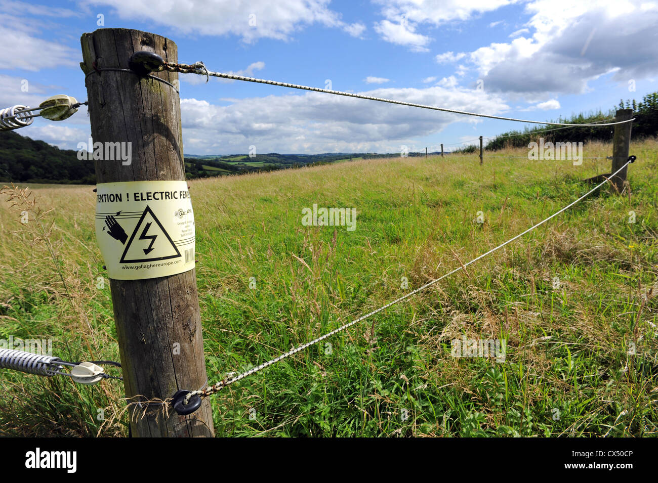 Close up of an electric fence - Stock Image