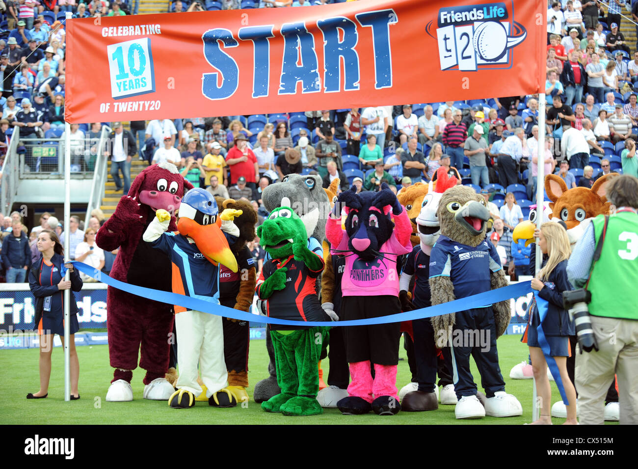 Action from the famous Mascot race from the 2012 Twenty20 Finals Day at the Swalec Stadium in Cardiff. - Stock Image