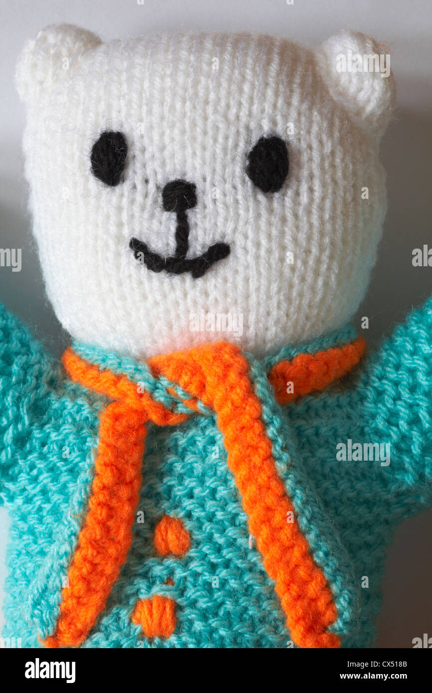 Close up of knitted teddy bear - Stock Image