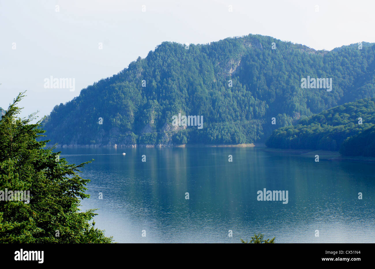 Panorama view of the Vidraru lake in Fagaras mountains of Romania with a boat on the water - Stock Image