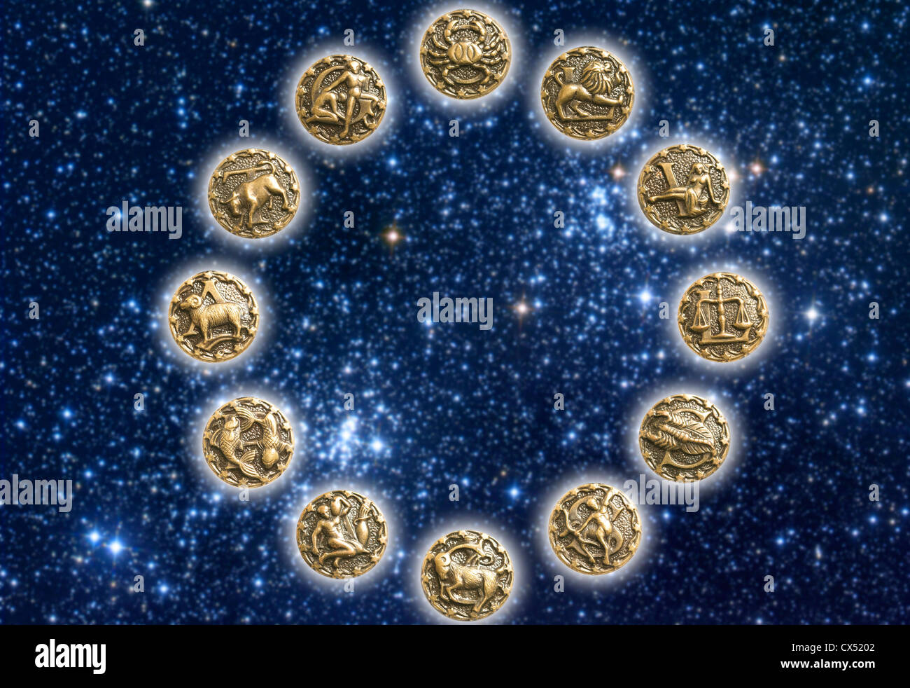 circle with all the twelve zodiac signs - Stock Image
