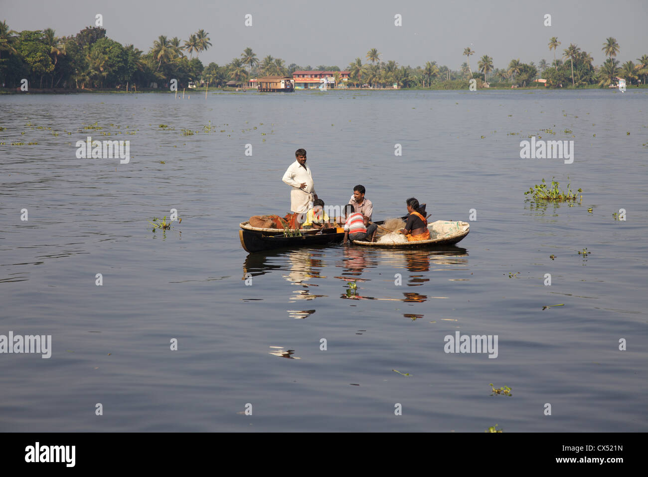River scene from a houseboat tour on the Kerala Backwaters, Malabar coast, South West India - Stock Image