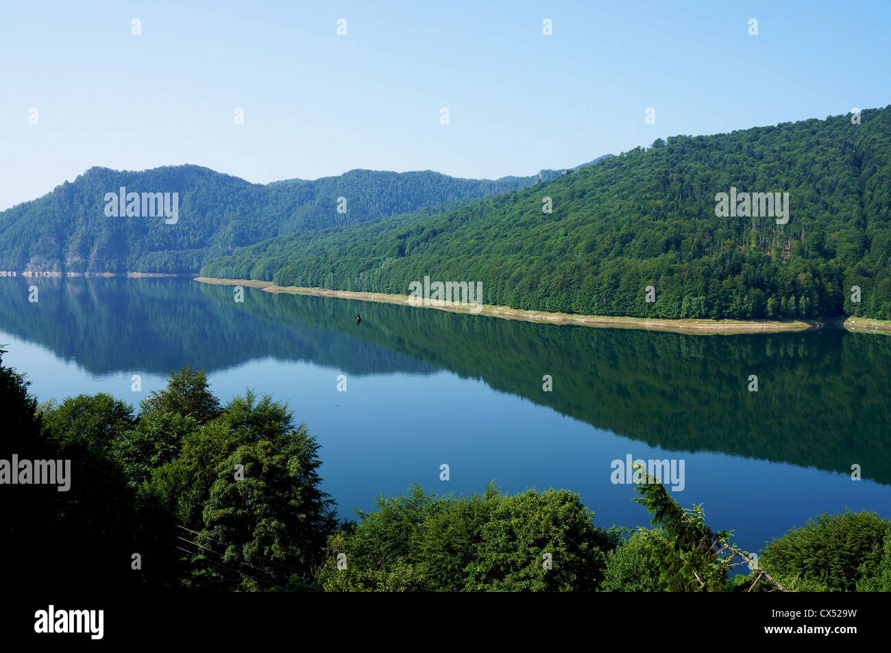 Panorama view of the Vidraru lake in Fagaras mountains of Romania with black swallows flying over the water - Stock Image