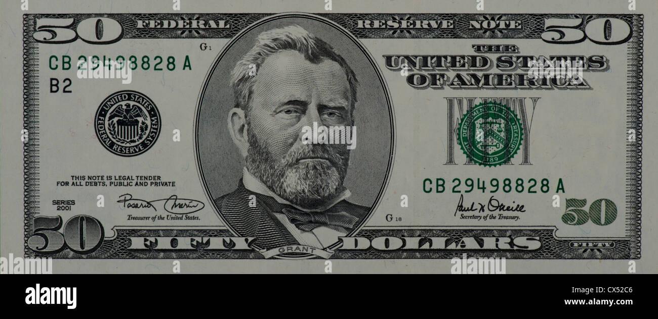 $50 dollar bill - Stock Image