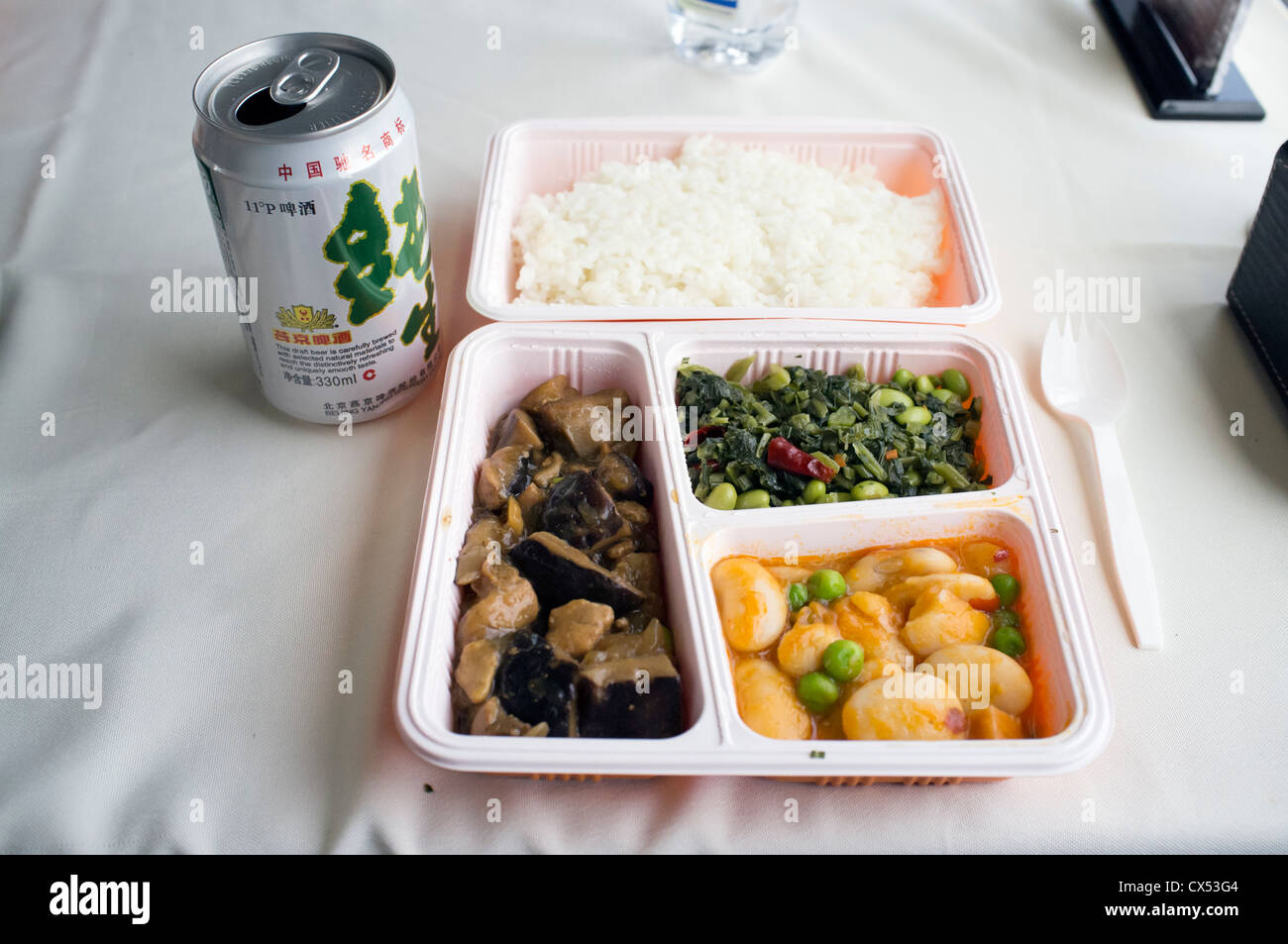 Lunch on high speed train between Beijing and Shanghai in China - Stock Image