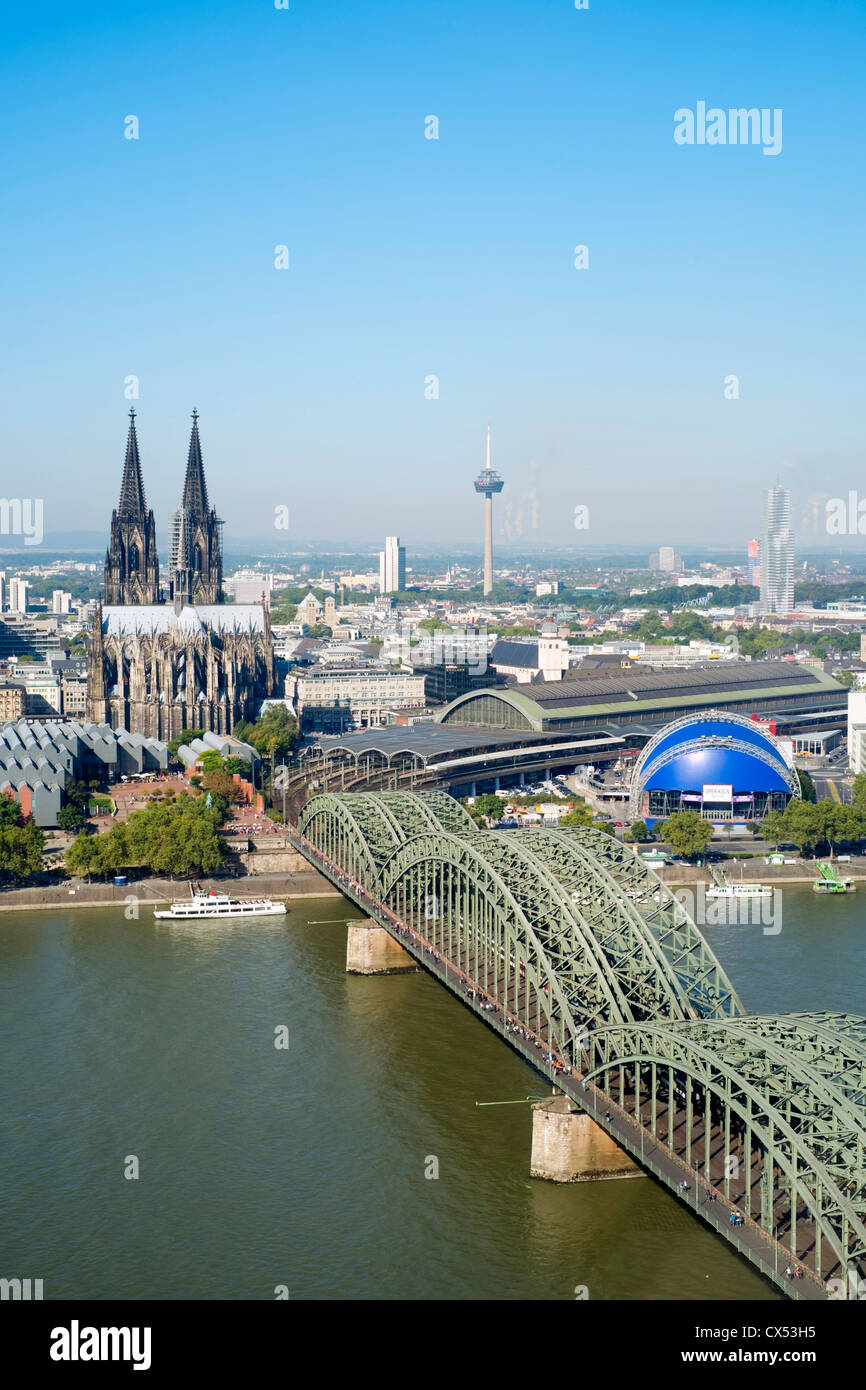 View of skyline and Cathedral in Cologne Germany - Stock Image