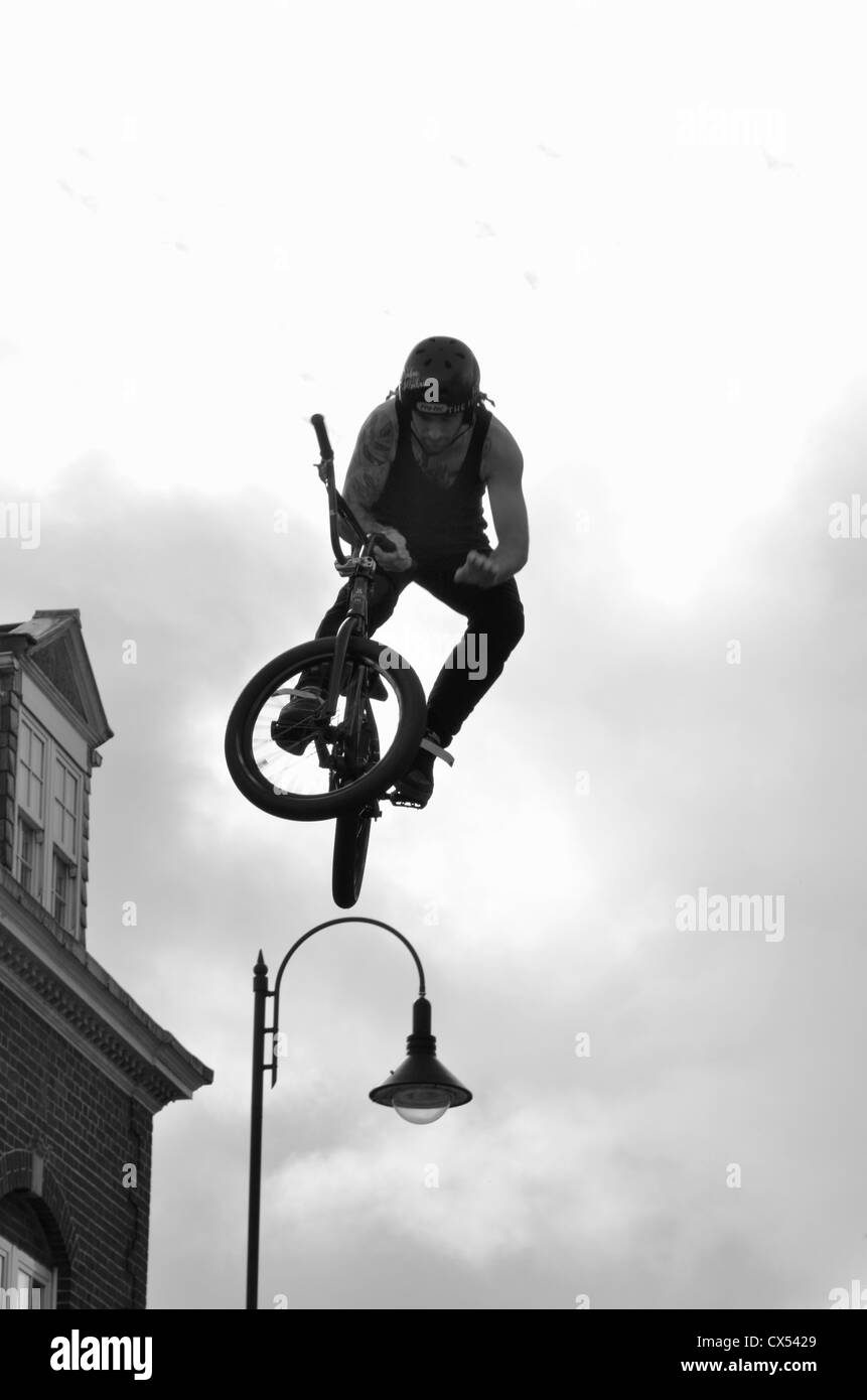 Kye Forte of Team Jump Display performing in Okehampton as part of celebrations surrounding your of britain passing - Stock Image