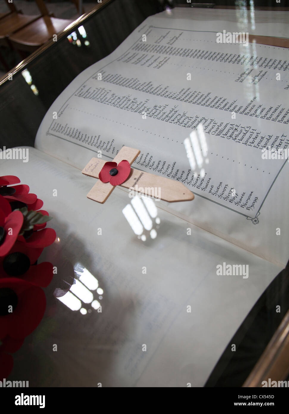 Book Of remembrance for WWI Riflemen in Winchester Cathedral - Hampshire UK Stock Photo
