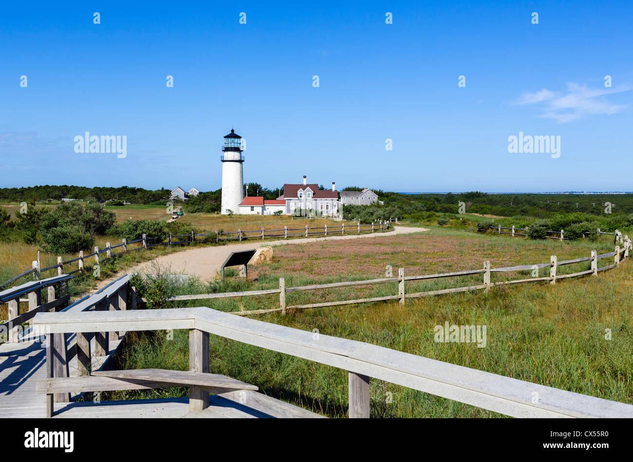 Cape Cod Highland Lighthouse, Cape Cod National Seashore, North Truro, Cape Cod, Massachusetts, USA - Stock Image