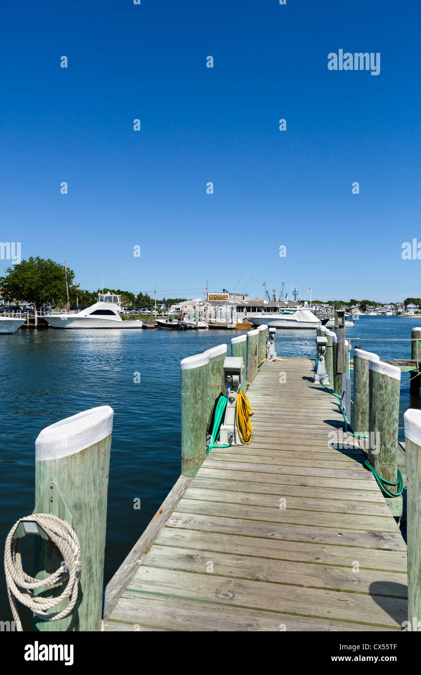 Jetty in the harbor at Hyannis, Barnstable, Cape Cod, Massachusetts, USA - Stock Image