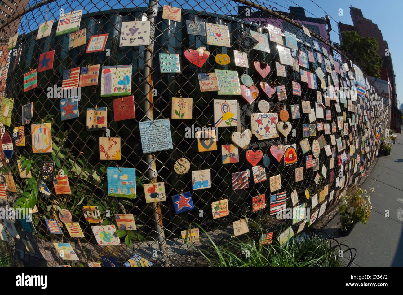 The tiles memorializing the World Trade Center victims in New York in Greenwich Village - Stock Image