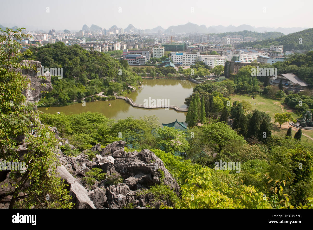 Guilin city in Guangxi Province in Southern China, seen from the side of the mountain in Xishan Park. Stock Photo