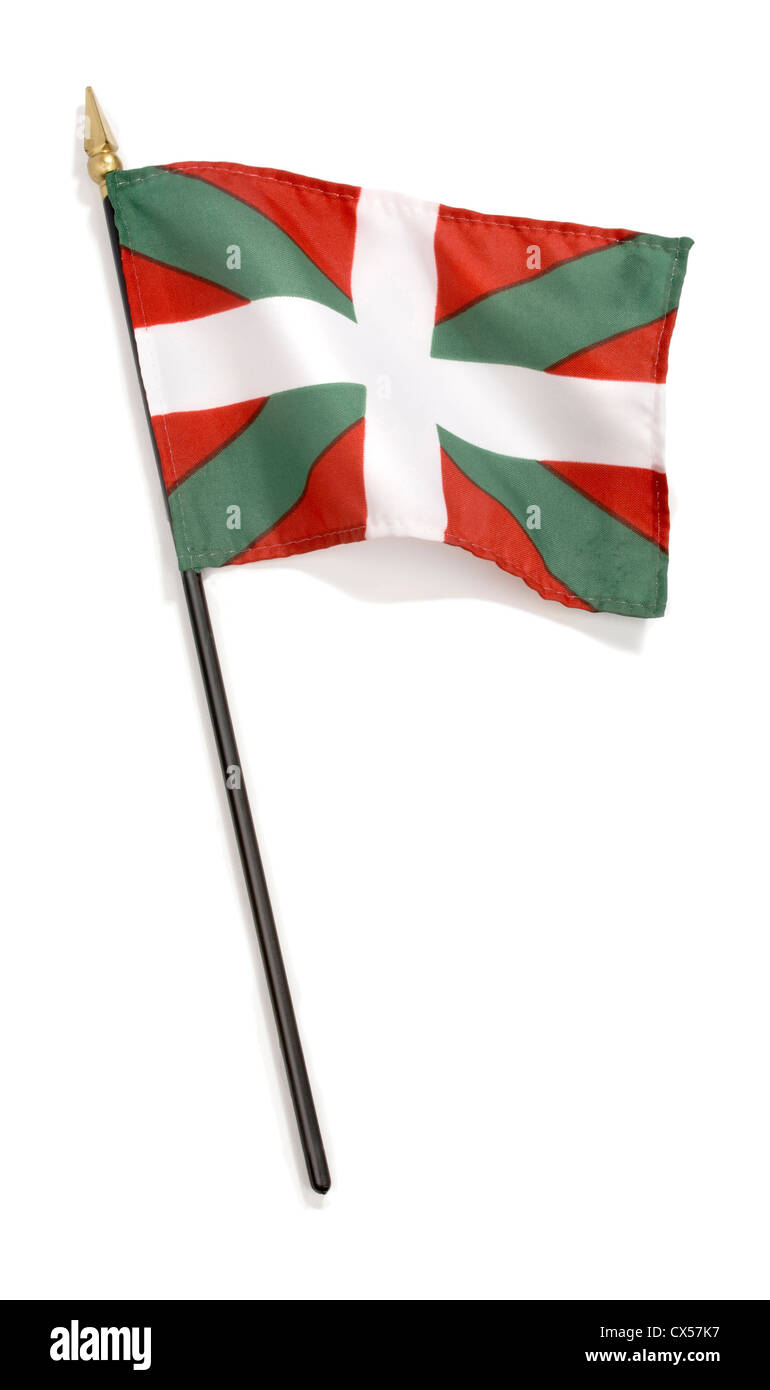 basque flag photographed on a white background - Stock Image