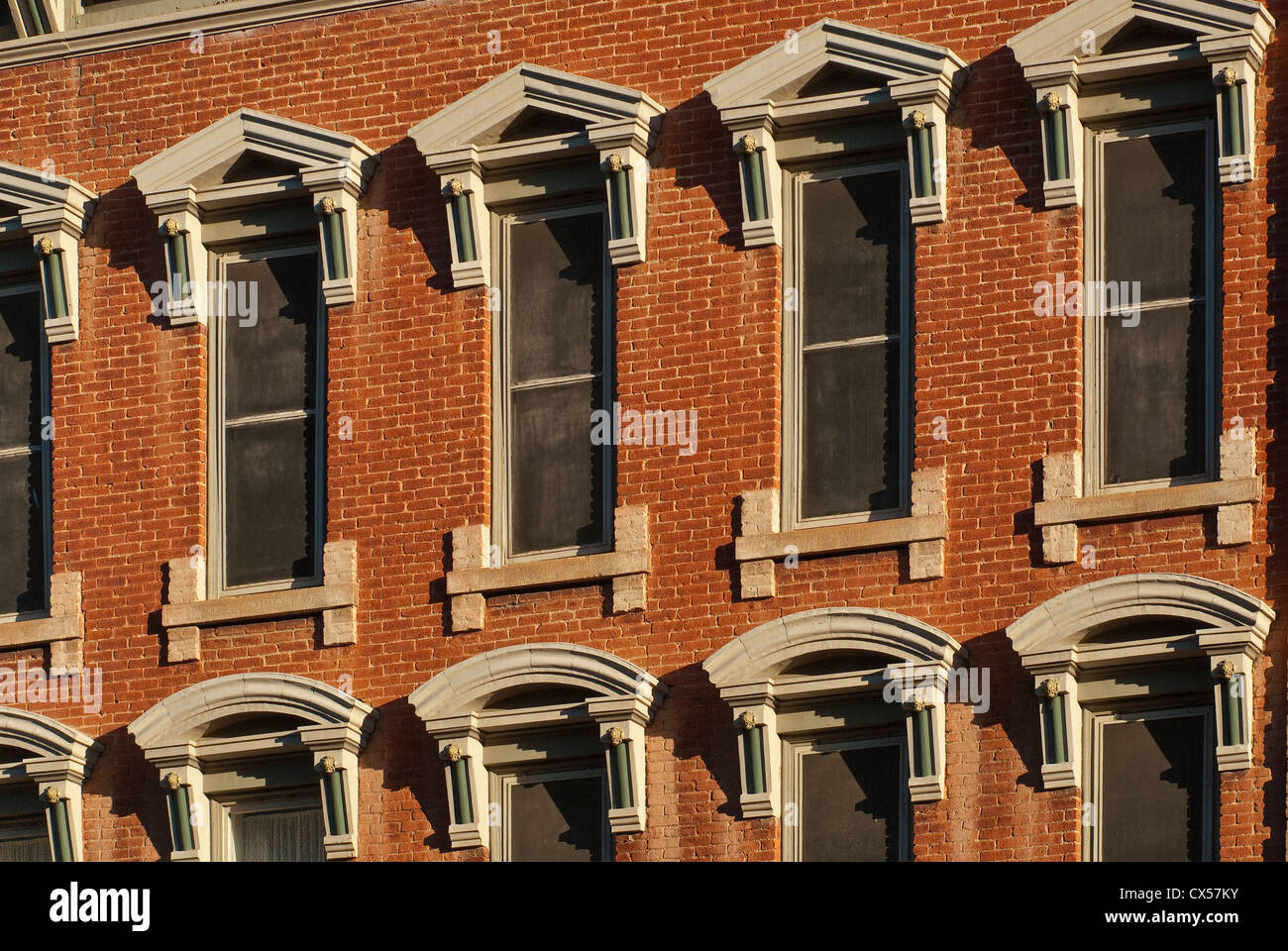 Close-up of windows at historic Plaza Hotel in Las Vegas, New Mexico, USA Stock Photo