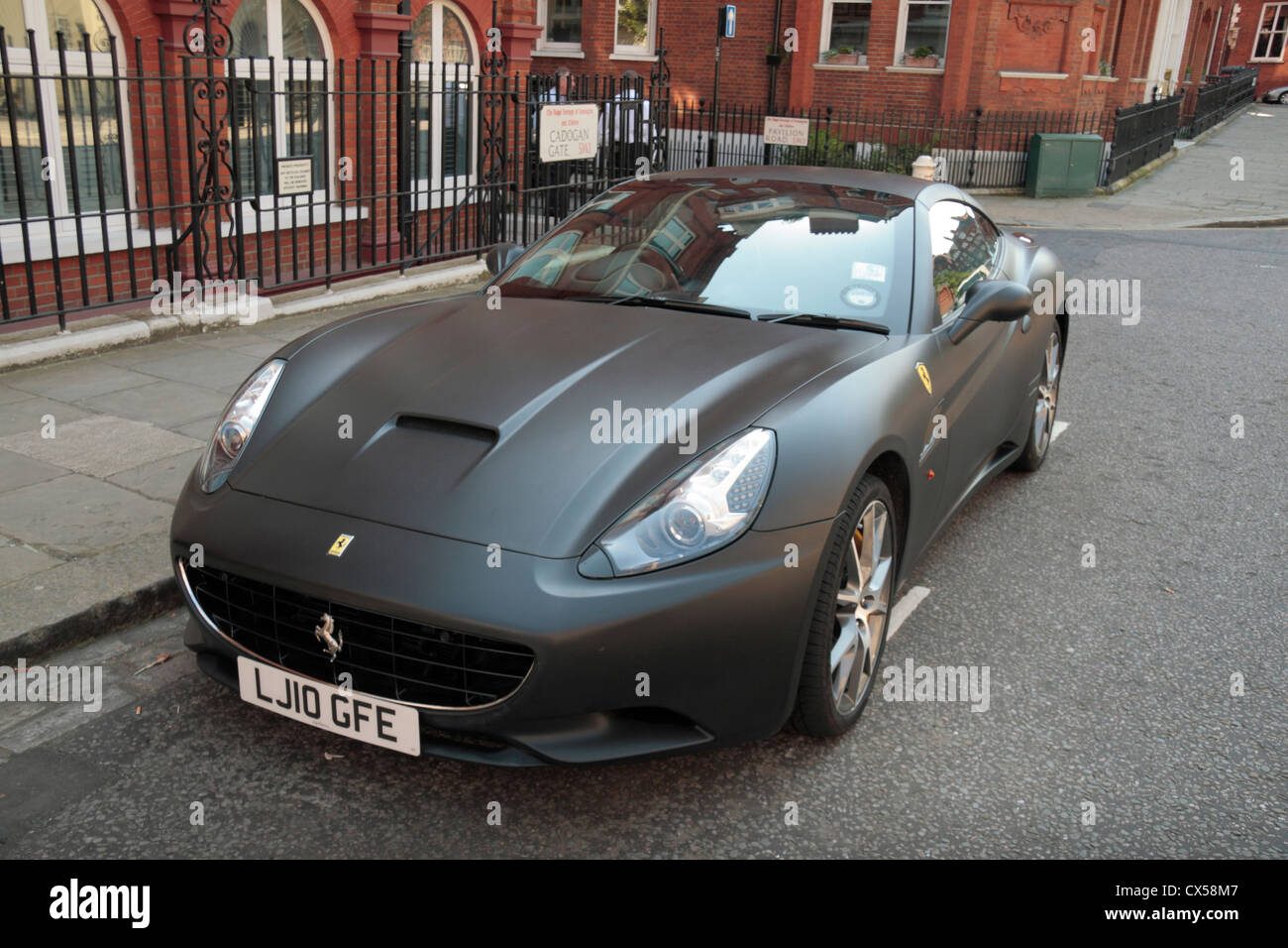 A stunning matte black Ferrari California (2010 license plate