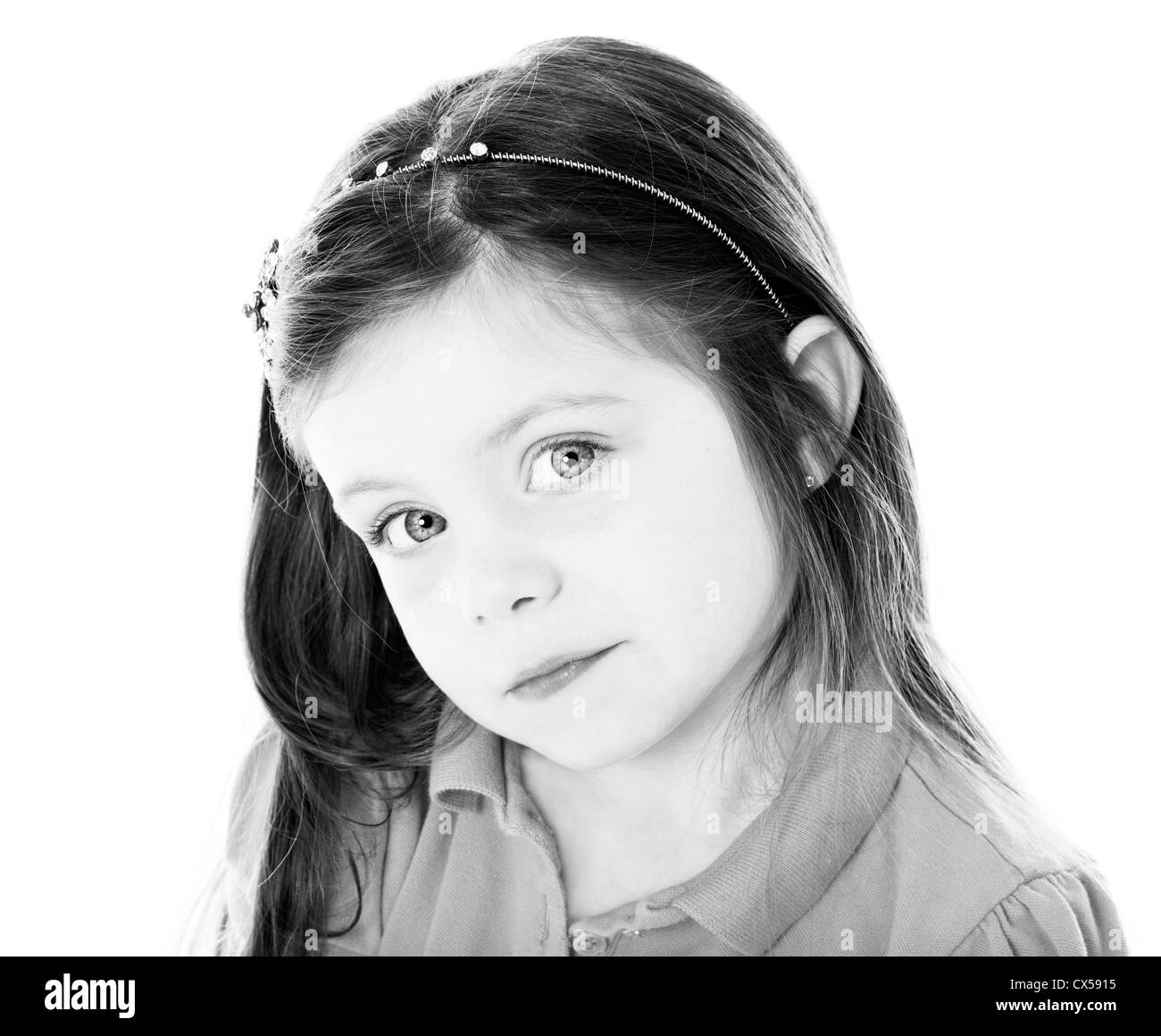 Young girl portait in black and white - Stock Image