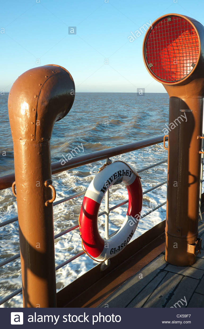 Ship air vents /scoops and rubber ring on the Waverley steam paddle steam ship, UK. - Stock Image