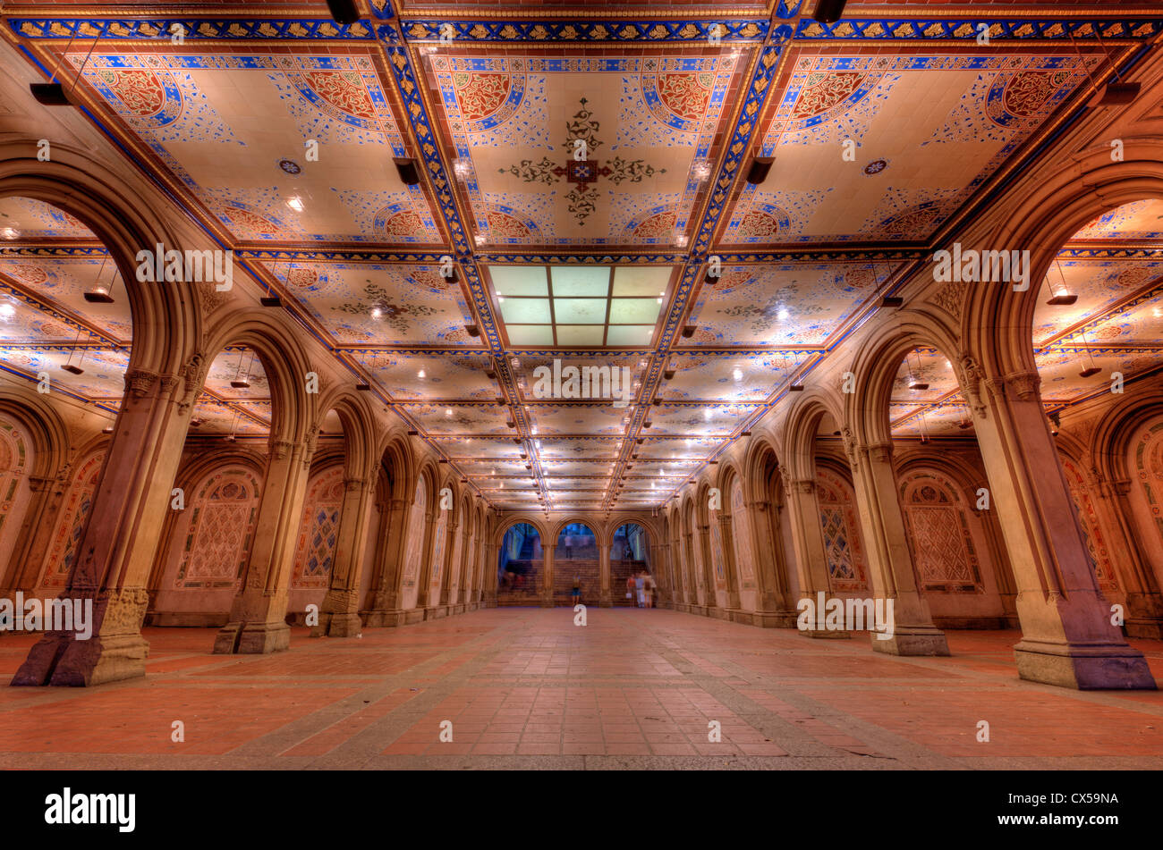 Ornate underpass of Bethesda Terrace in New York City's Central Park. - Stock Image