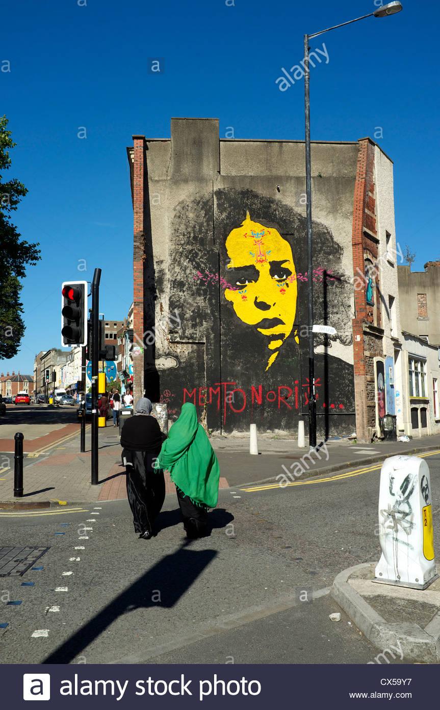 Urban street art in the Stoke's Croft area of Bristol, UK. - Stock Image