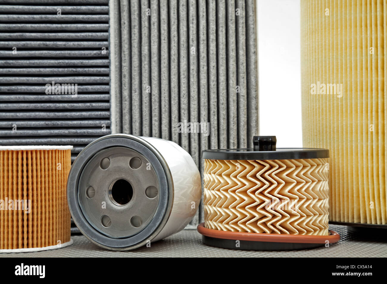 Various filters used for car service of a passenger car - Stock Image