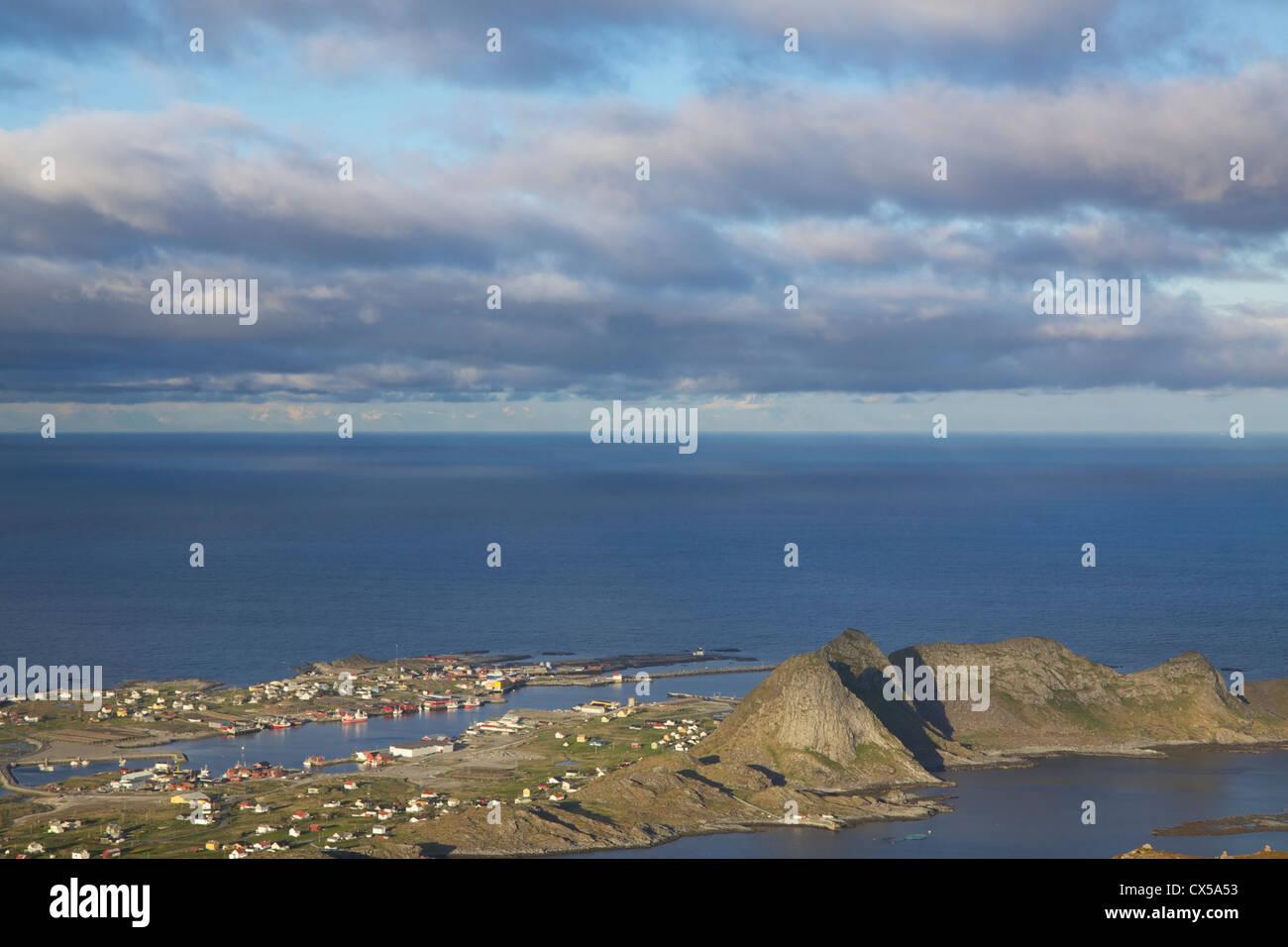 Town of Sorland on island of Vaeroy on Lofoten islands, Norway - Stock Image