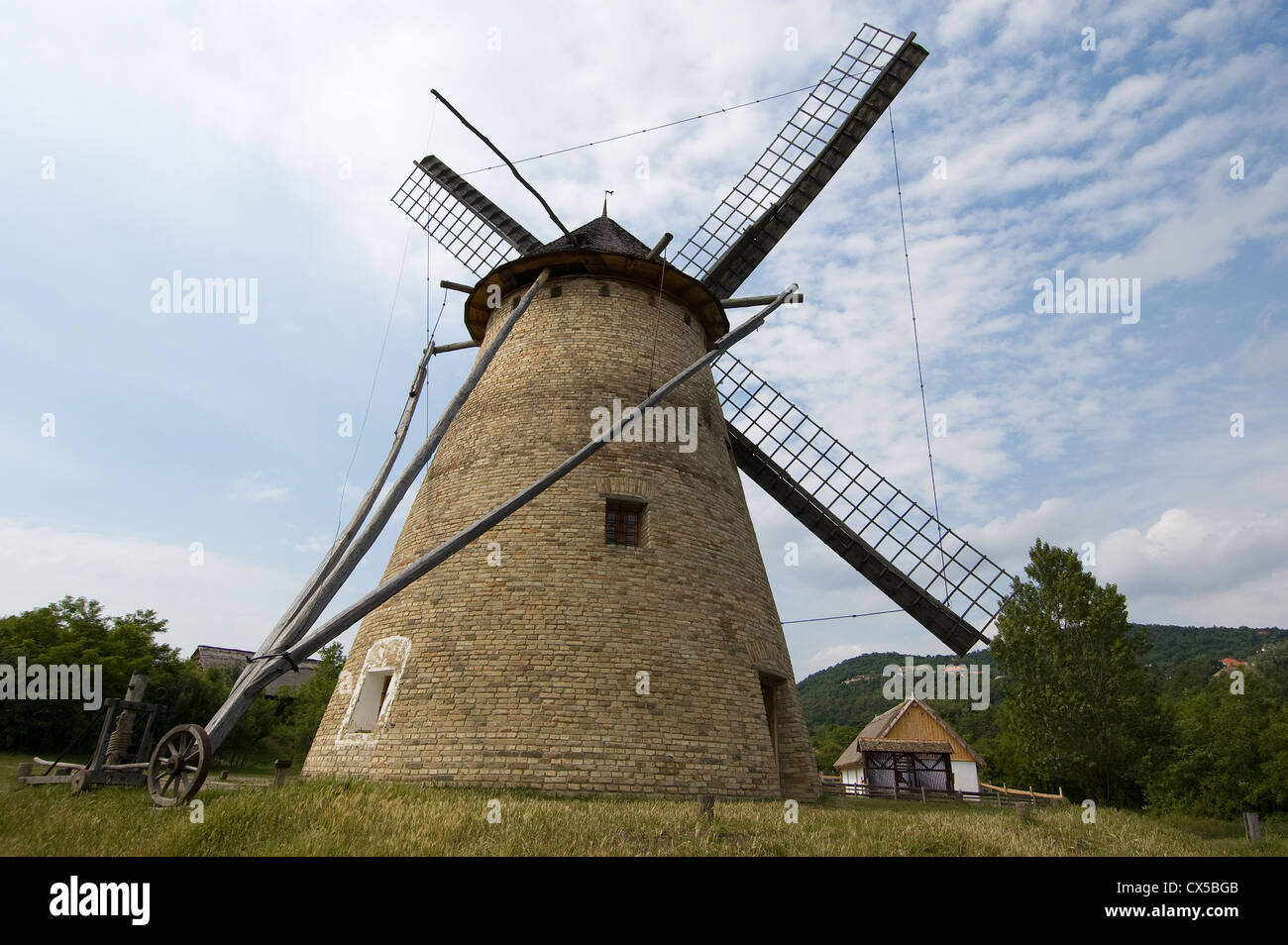Elk190-2137 Hungary, Szentendre, Open Air Ethnographic Museum, windmill - Stock Image
