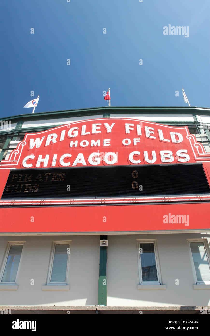 Chicago Cubs team,  Wrigley Field baseball stadium sign, Chicago, Illinois - Stock Image
