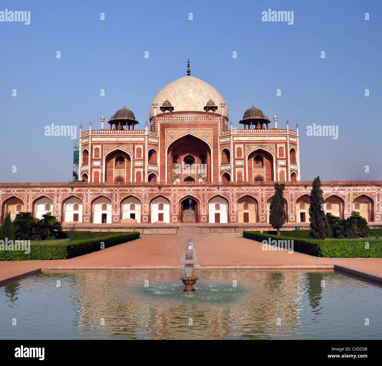 Vertical Panoramic view of Humayun's Tomb - one of the most famous Mughal buldings in New Delhi, India - Stock Image