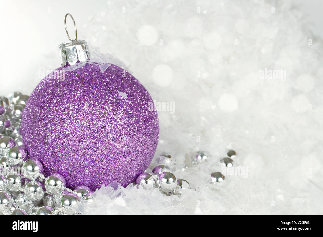 Christmas Purple.Purple Christmas Bauble With Silver Decorative Beads With