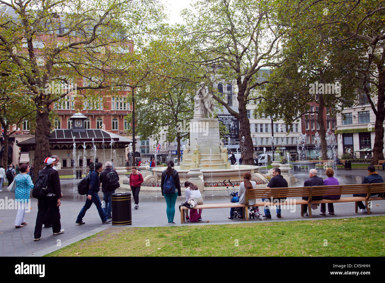 Leicester Square Fountain - London UK - Stock Image