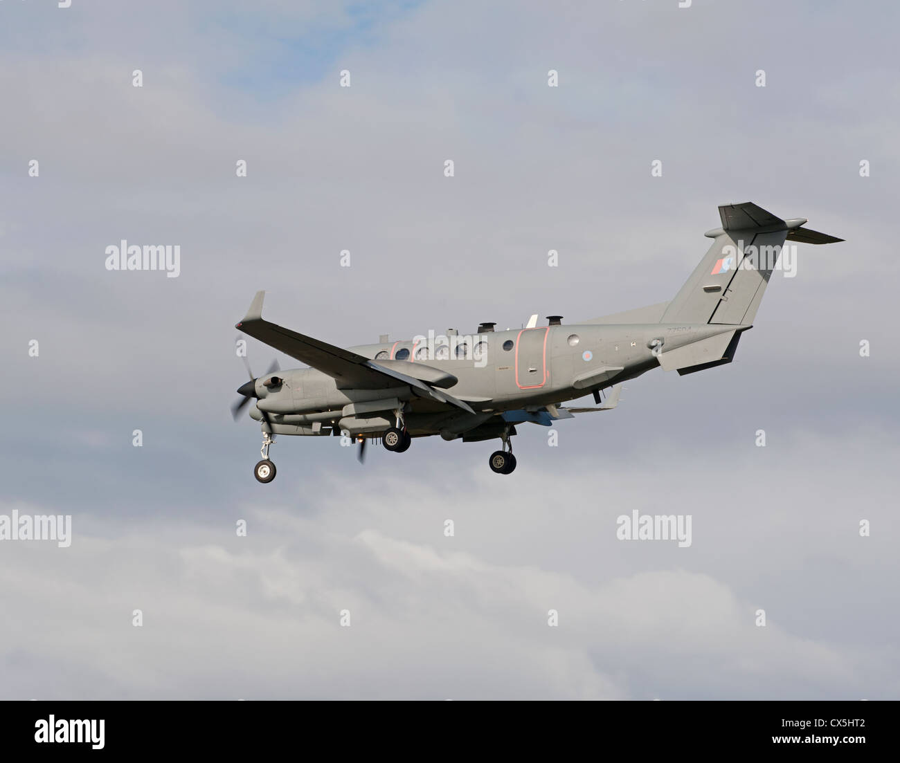 UK-AIR FORCE Hawker Beechcraft Shadow R1. (350CER). RAF Lossiemouth.   SCO 8489 - Stock Image