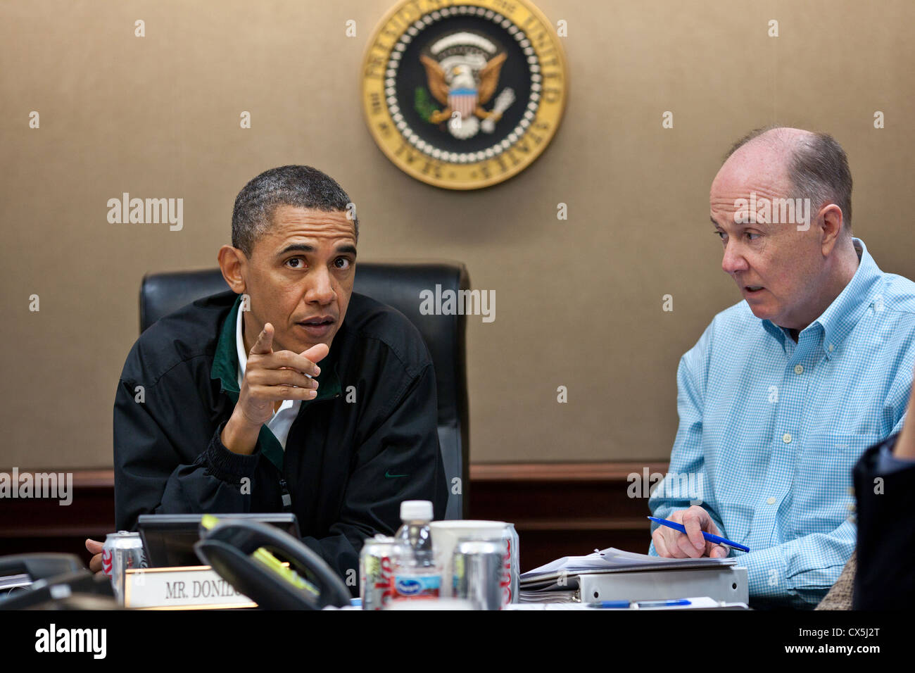 US President Barack Obama makes a point during one in a series of meetings in the Situation Room of the White House - Stock Image