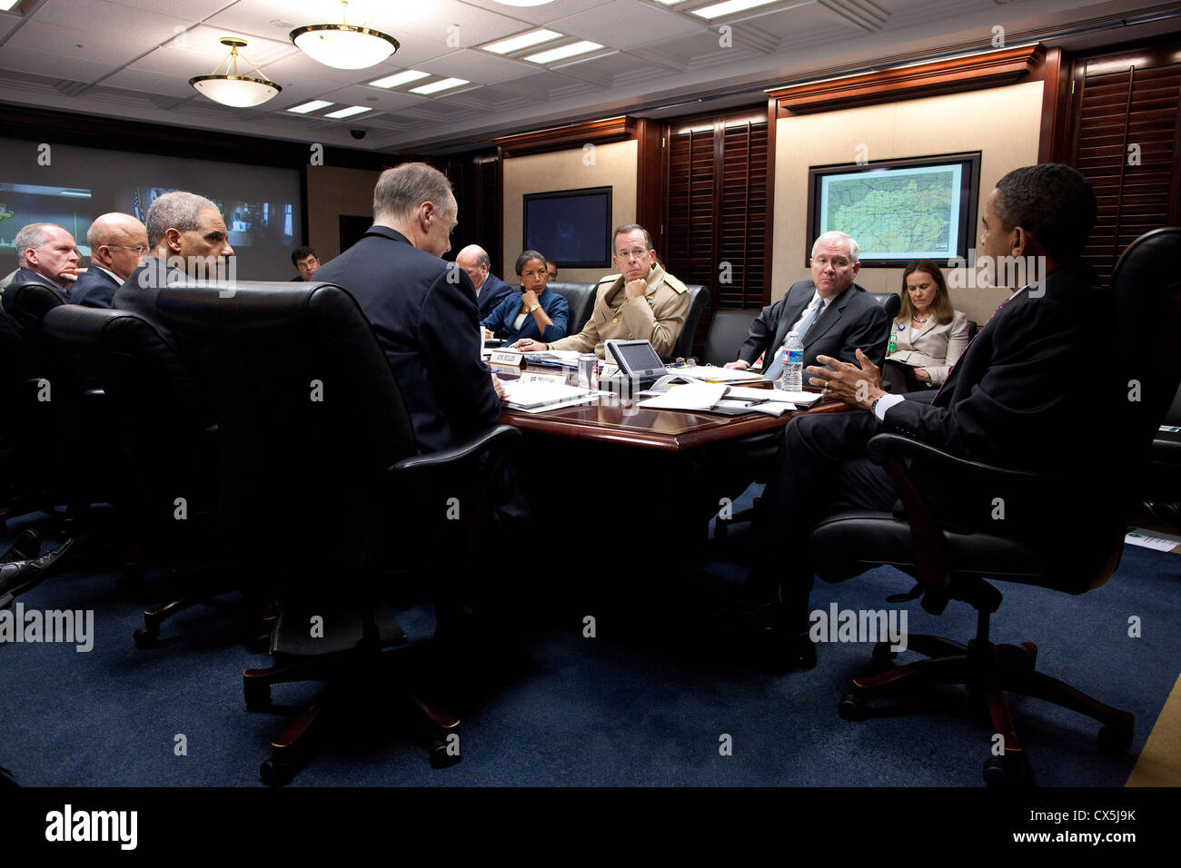 US President Barack Obama meets with his national security team on Afghanistan and Pakistan April 25, 2011 in the - Stock Image