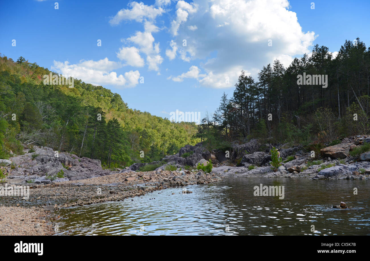 Johnson Shut Ins River flowing during sunny afternoon - Stock Image