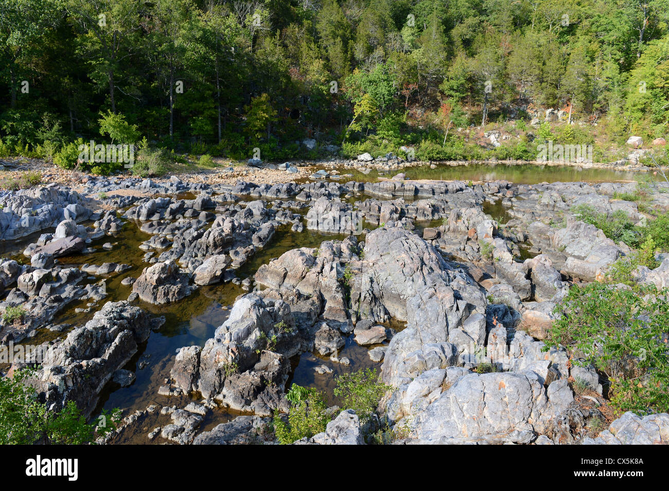 Rugged river view of Johnson Shut Ins in Missouri - Stock Image