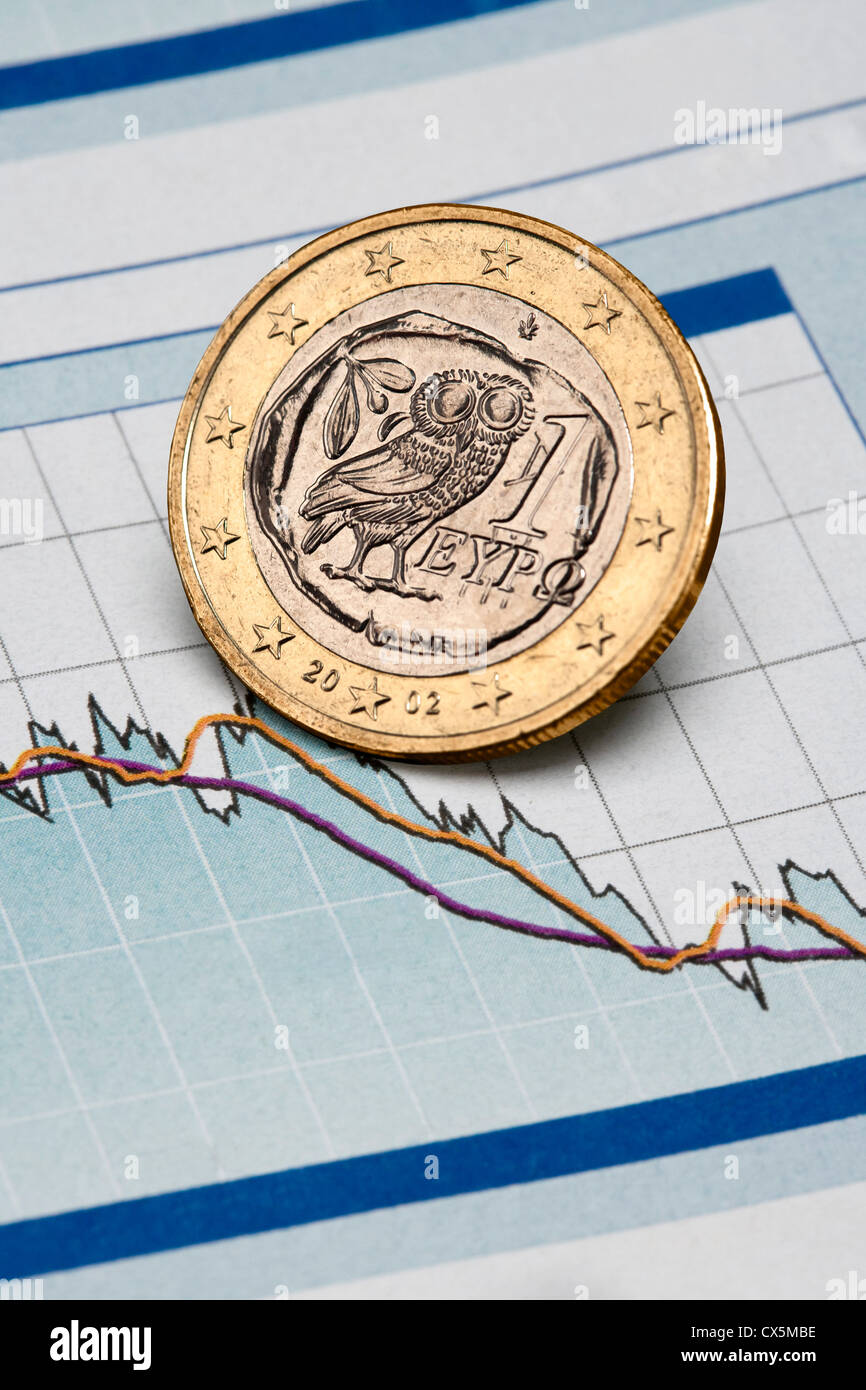 Greek Euro coin on a chart - Stock Image