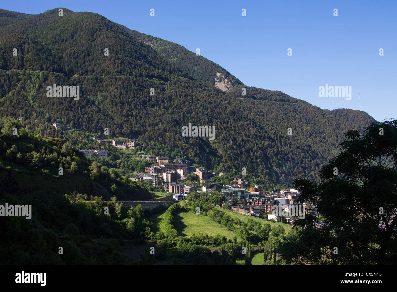 The town of Encap in the autonomous principality of Andorra in the southern Pyrenees - Stock Image