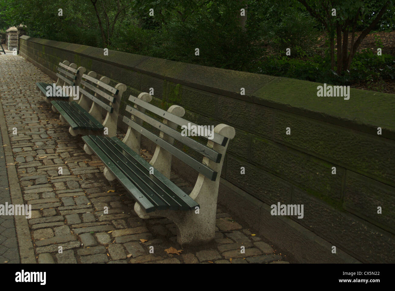 A Row Of Benches Along Central Park On The West Side In New York